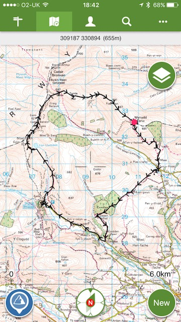 Route map for the Berwyns